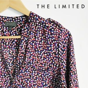 THE LIMITED Red & Purple Geometric Pattern Blouse